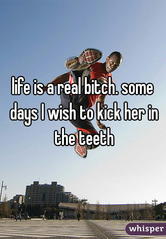 life is a real bitch. some days I wish to kick her in the teeth