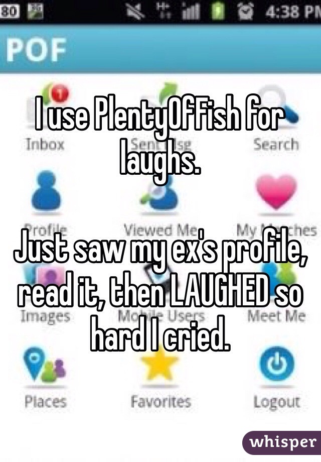 I use PlentyOfFish for laughs.  Just saw my ex's profile, read it, then LAUGHED so hard I cried.