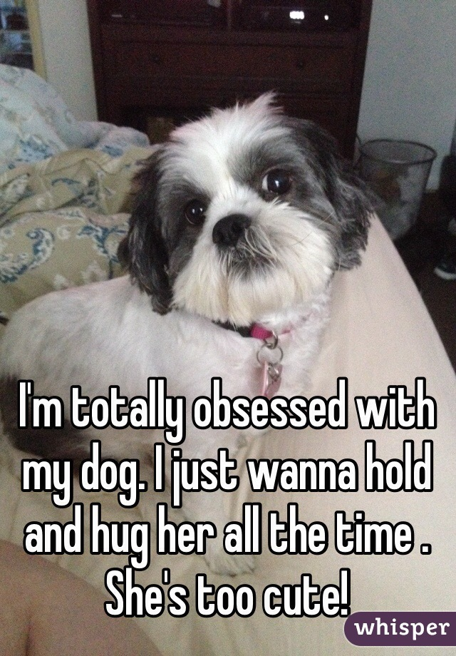 I'm totally obsessed with my dog. I just wanna hold and hug her all the time . She's too cute!