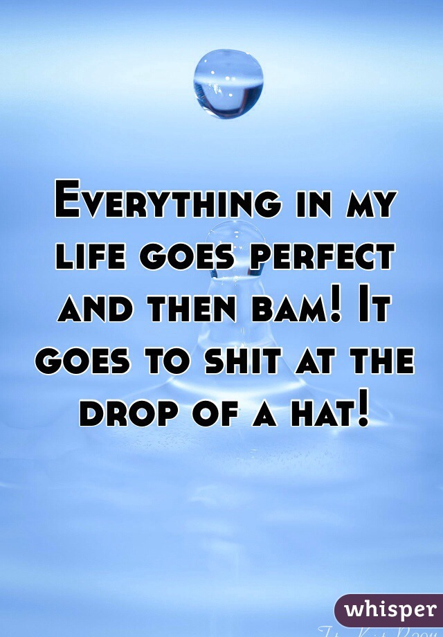 Everything in my life goes perfect and then bam! It goes to shit at the drop of a hat!