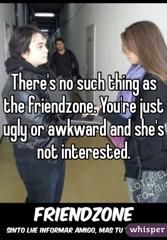 There's no such thing as the friendzone. You're just ugly or awkward and she's not interested.