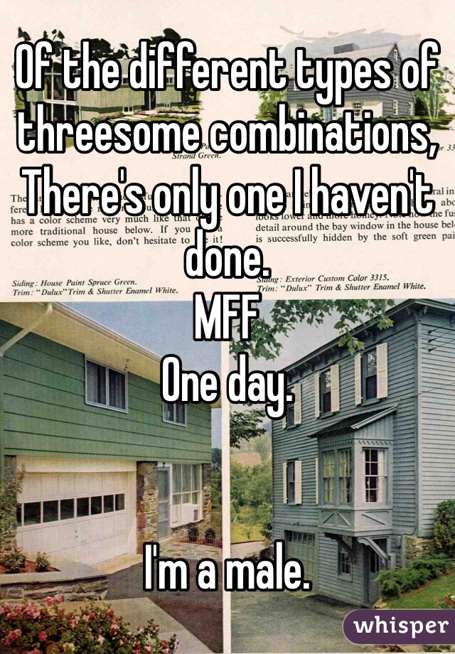 Of the different types of threesome combinations, There's only one I haven't done. MFF One day.   I'm a male.