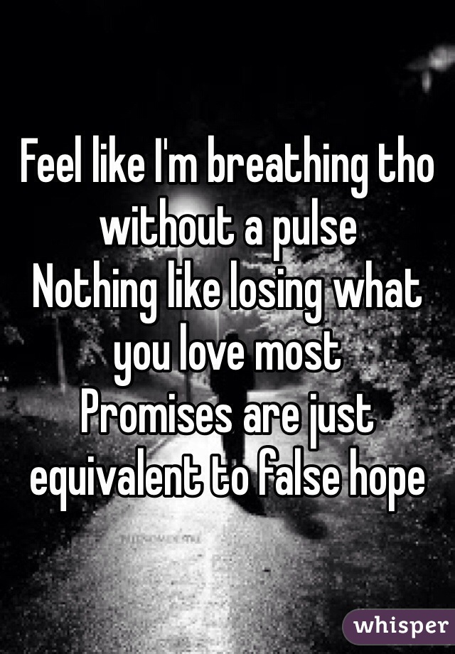 Feel like I'm breathing tho without a pulse Nothing like losing what you love most Promises are just equivalent to false hope