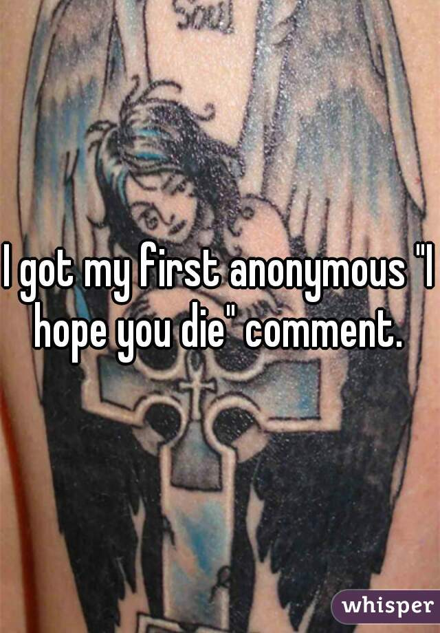 """I got my first anonymous """"I hope you die"""" comment."""