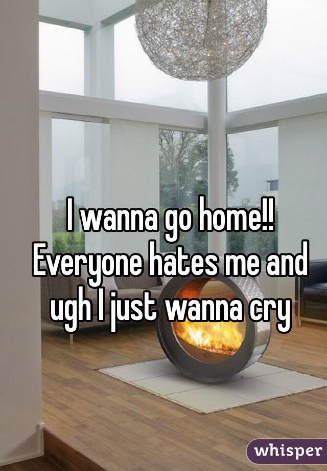I wanna go home!! Everyone hates me and ugh I just wanna cry