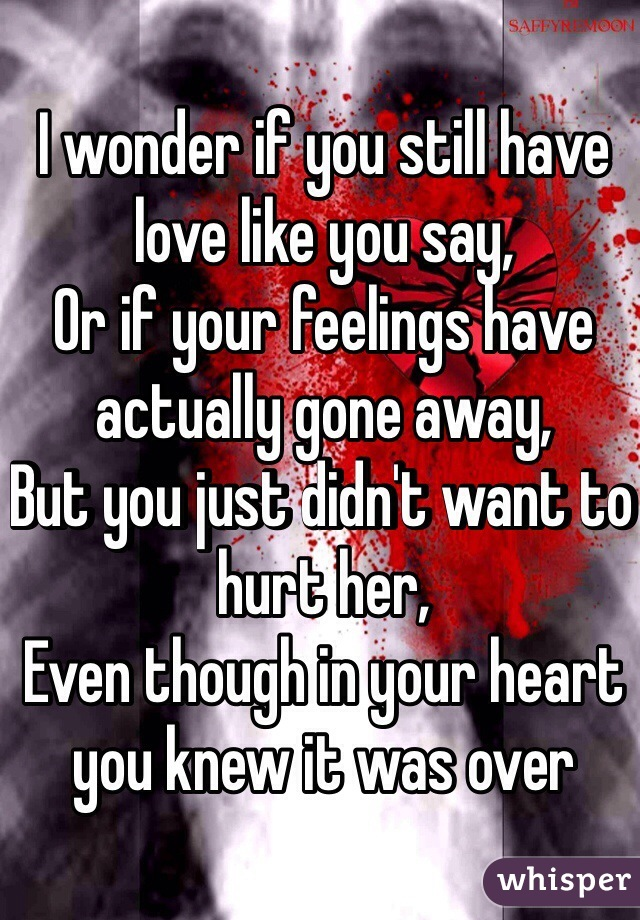 I wonder if you still have love like you say,  Or if your feelings have actually gone away, But you just didn't want to hurt her, Even though in your heart you knew it was over