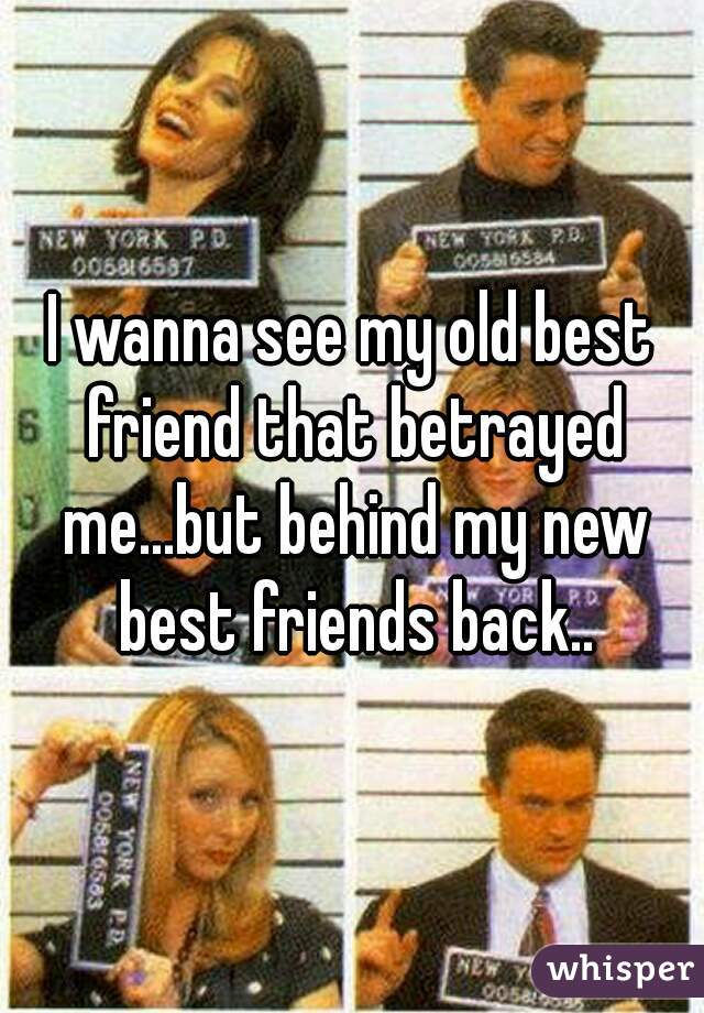 I wanna see my old best friend that betrayed me...but behind my new best friends back..