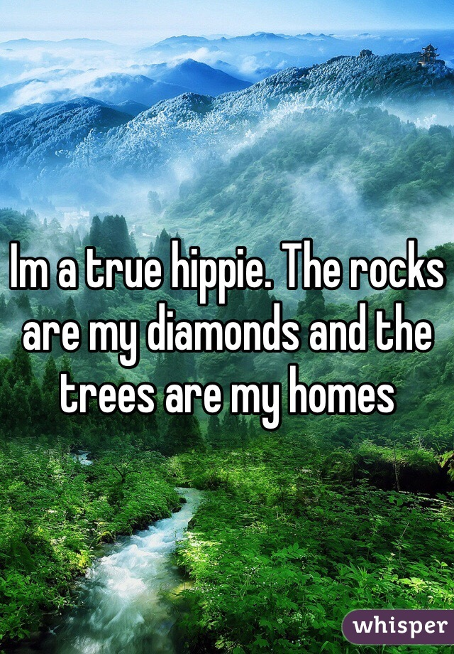 Im a true hippie. The rocks are my diamonds and the trees are my homes