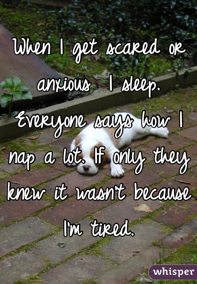 When I get scared or anxious  I sleep. Everyone says how I nap a lot. If only they knew it wasn't because I'm tired.