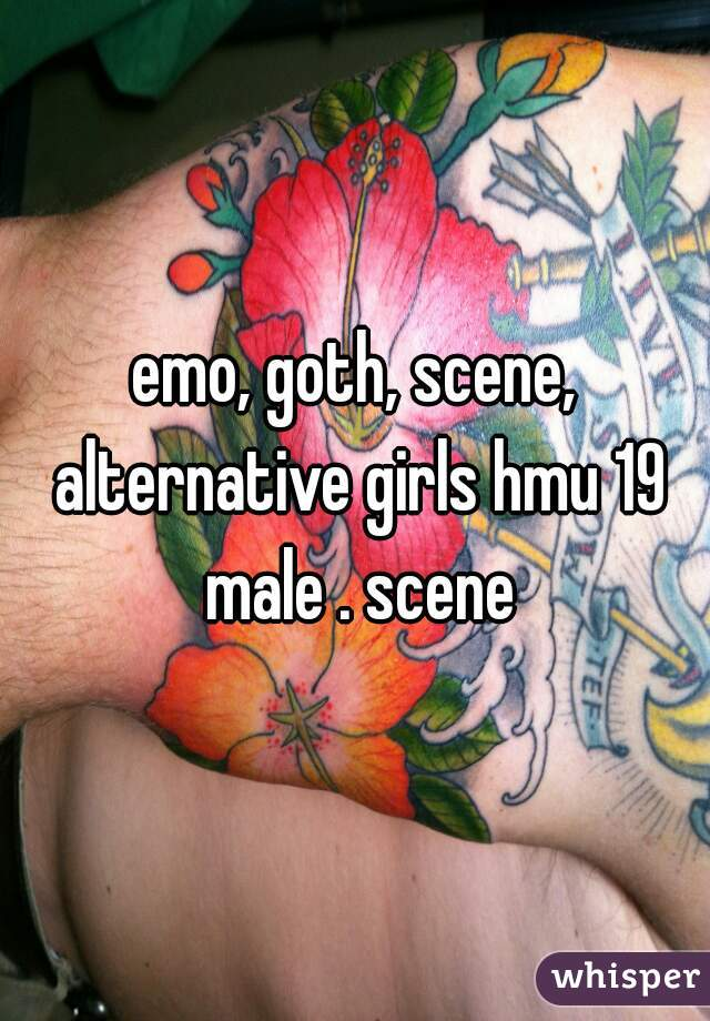 emo, goth, scene, alternative girls hmu 19 male . scene