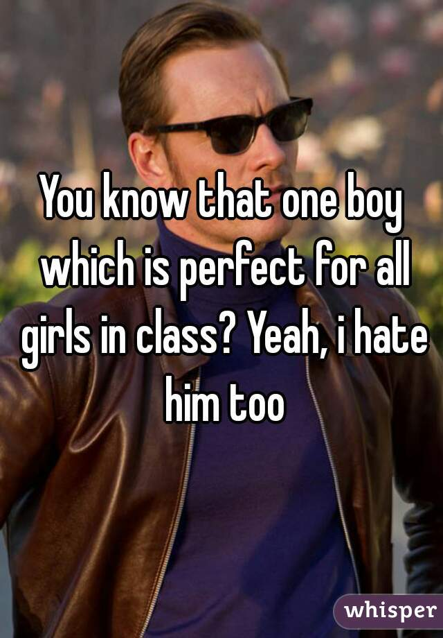 You know that one boy which is perfect for all girls in class? Yeah, i hate him too