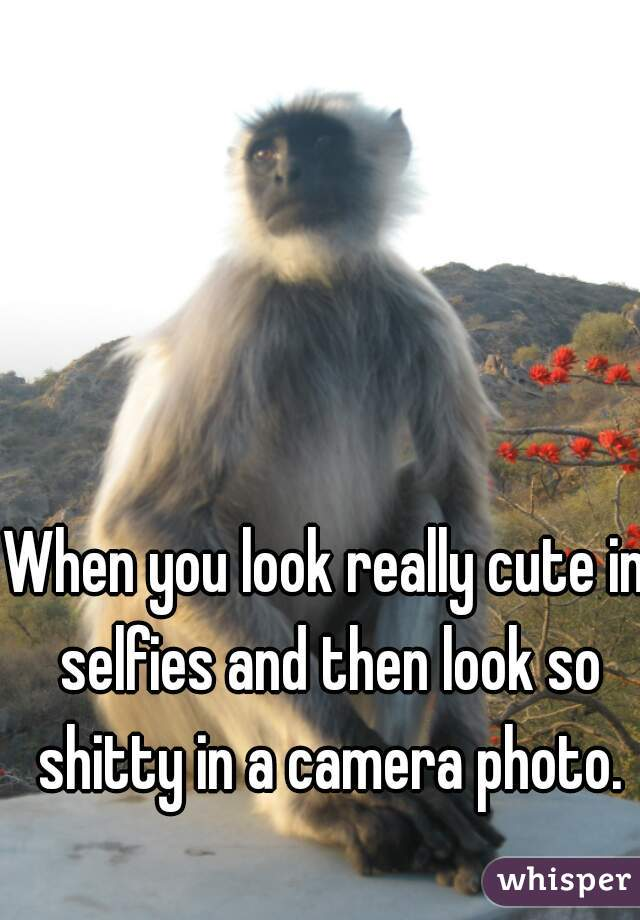 When you look really cute in selfies and then look so shitty in a camera photo.