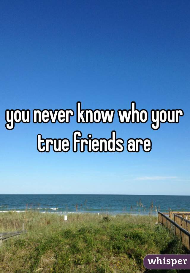 you never know who your true friends are