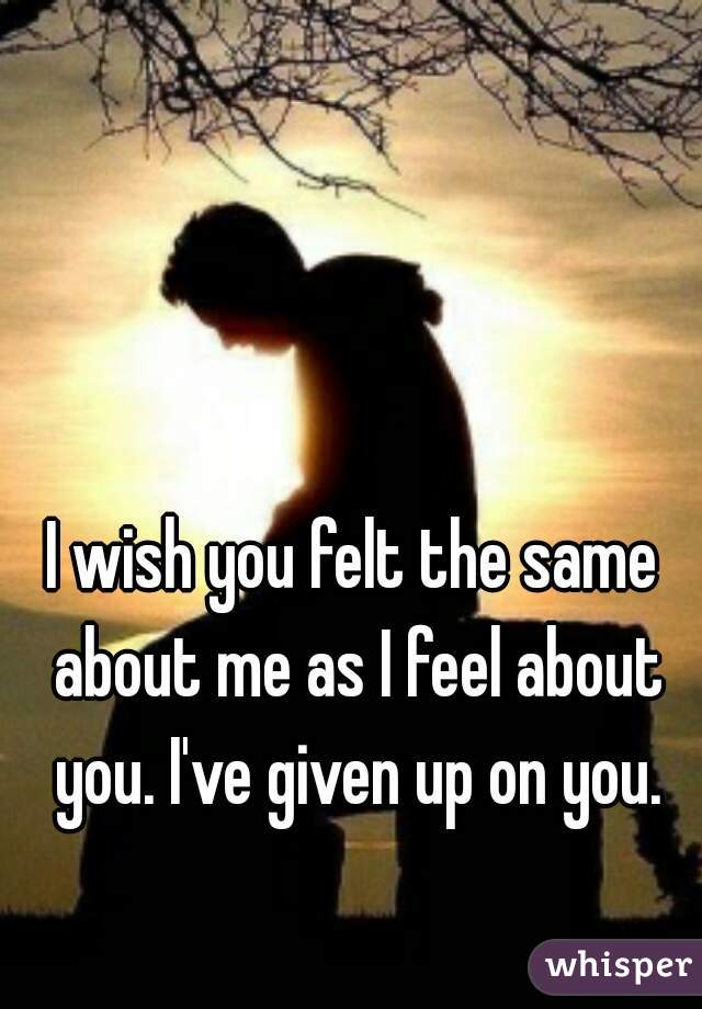 I wish you felt the same about me as I feel about you. I've given up on you.