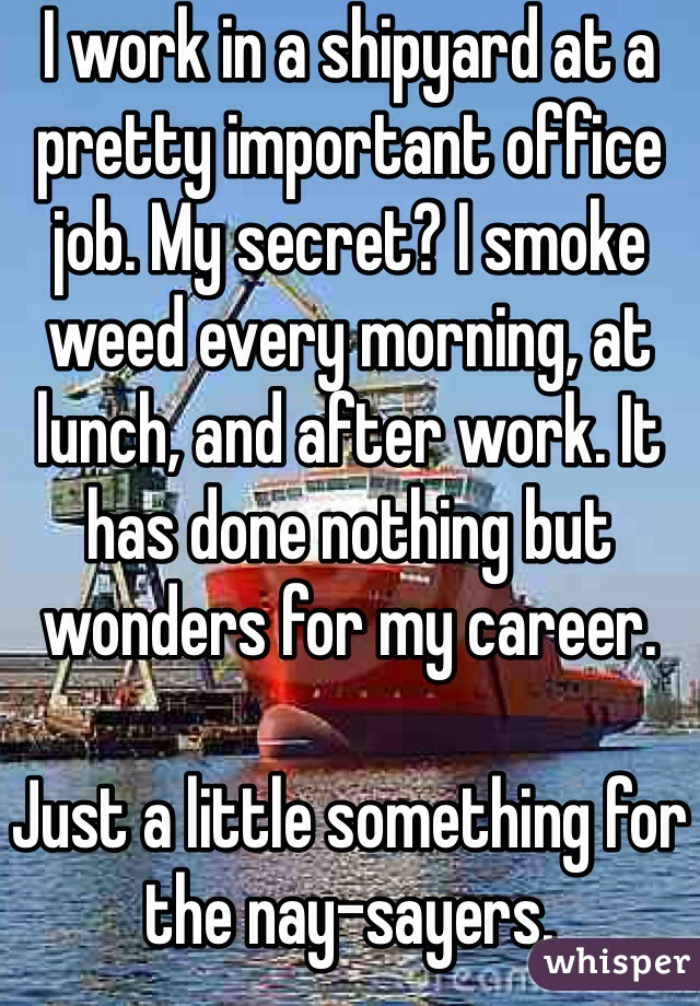 I work in a shipyard at a pretty important office job. My secret? I smoke weed every morning, at lunch, and after work. It has done nothing but wonders for my career.  Just a little something for the nay-sayers.