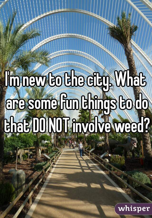 I'm new to the city. What are some fun things to do that DO NOT involve weed?