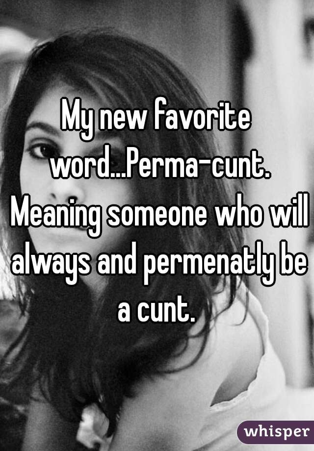 My new favorite word...Perma-cunt. Meaning someone who will always and permenatly be a cunt.