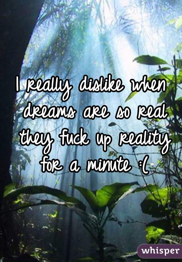 I really dislike when dreams are so real they fuck up reality for a minute :(