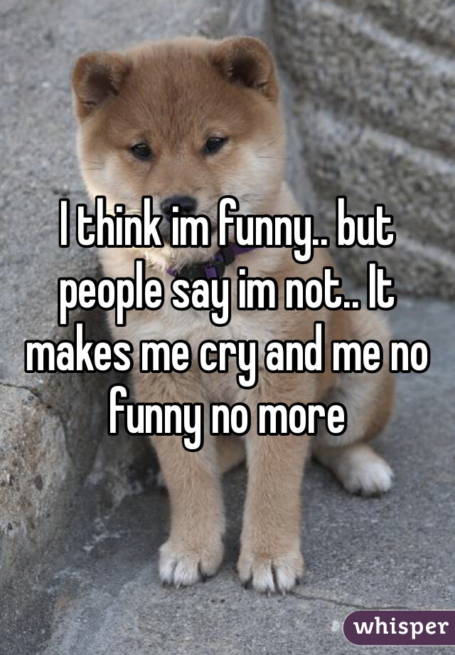 I think im funny.. but people say im not.. It makes me cry and me no funny no more