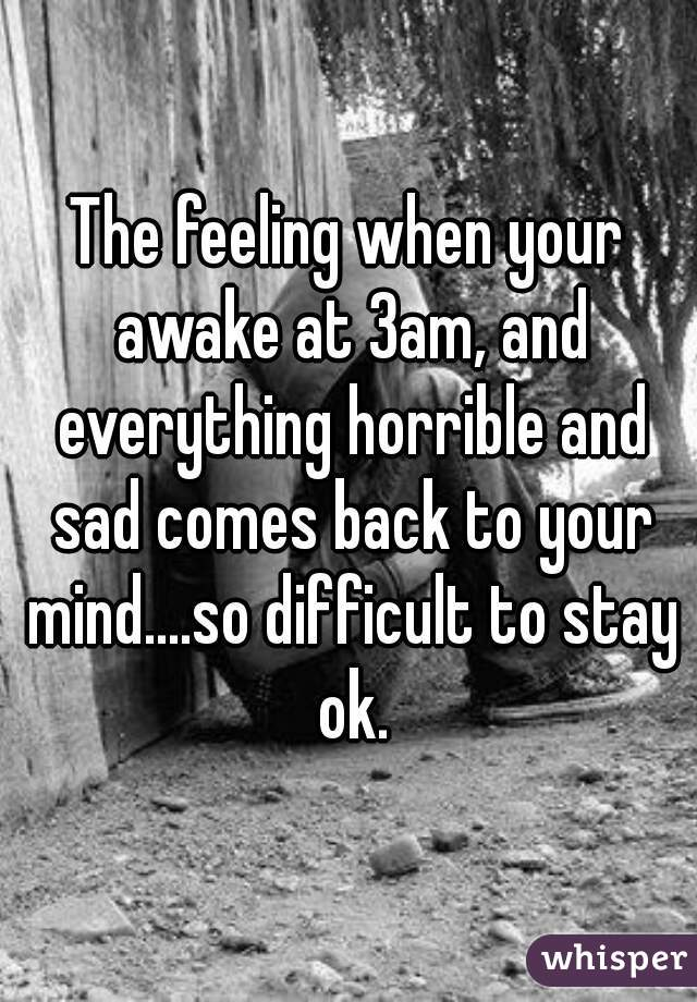 The feeling when your awake at 3am, and everything horrible and sad comes back to your mind....so difficult to stay ok.