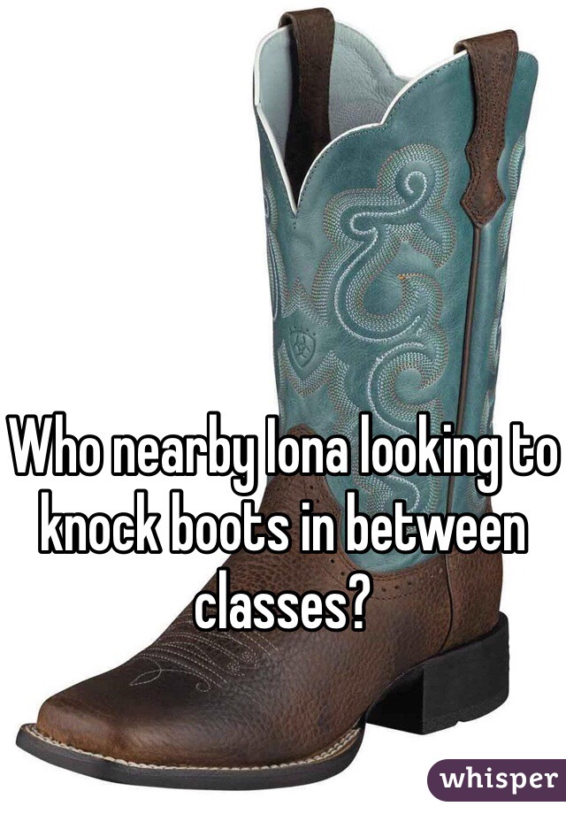 Who nearby Iona looking to knock boots in between classes?