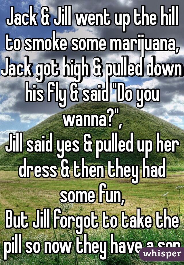 "Jack & Jill went up the hill to smoke some marijuana, Jack got high & pulled down his fly & said ""Do you wanna?"", Jill said yes & pulled up her dress & then they had some fun, But Jill forgot to take the pill so now they have a son"