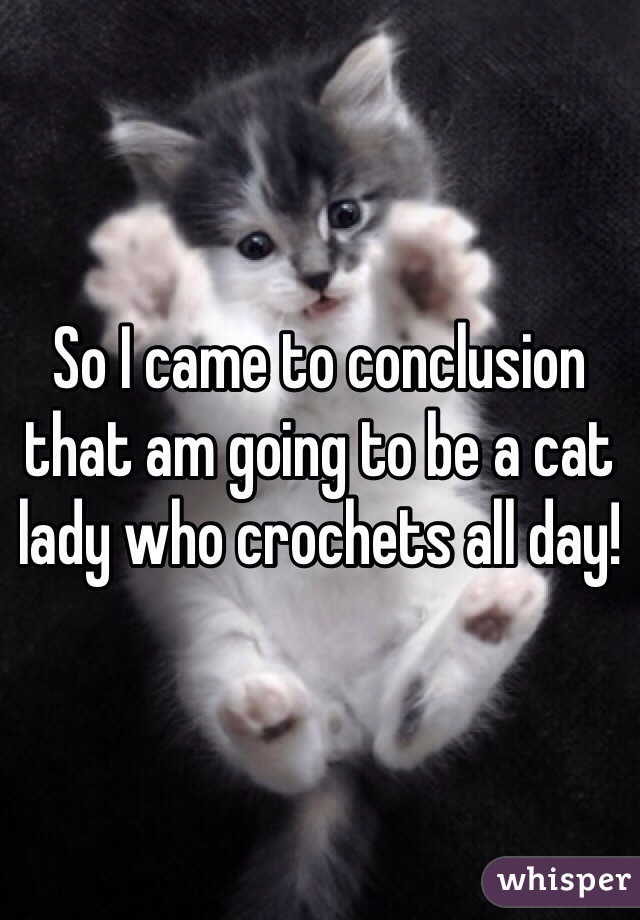 So I came to conclusion that am going to be a cat lady who crochets all day!