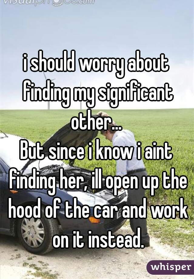 i should worry about finding my significant other...   But since i know i aint finding her, ill open up the hood of the car and work on it instead.