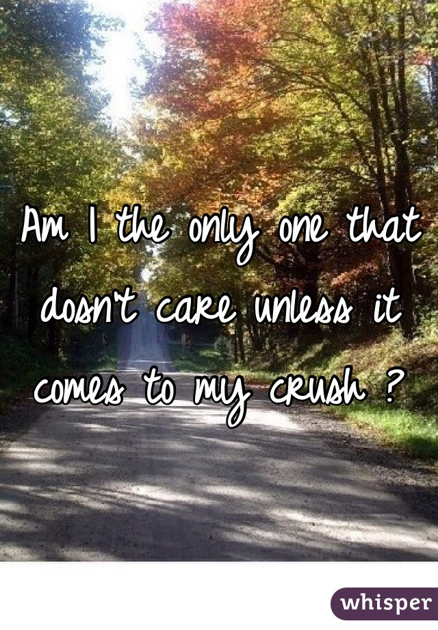 Am I the only one that dosn't care unless it comes to my crush ?