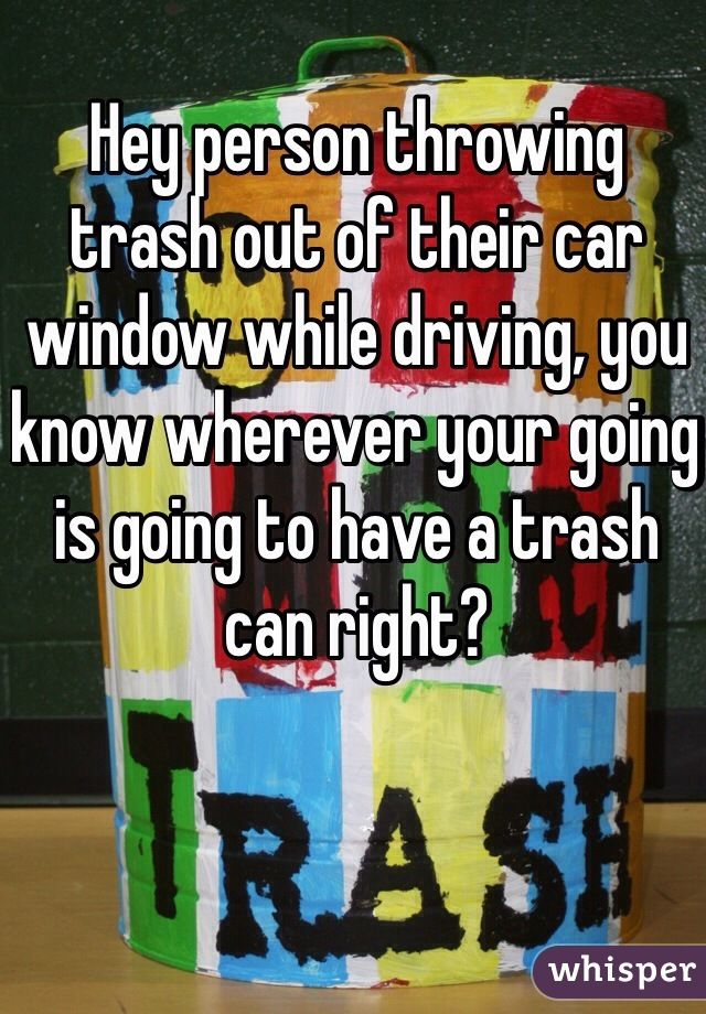 Hey person throwing trash out of their car window while driving, you know wherever your going is going to have a trash can right?