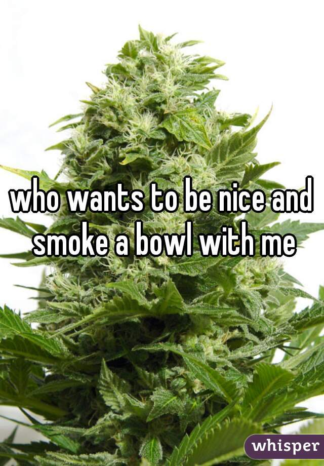 who wants to be nice and smoke a bowl with me