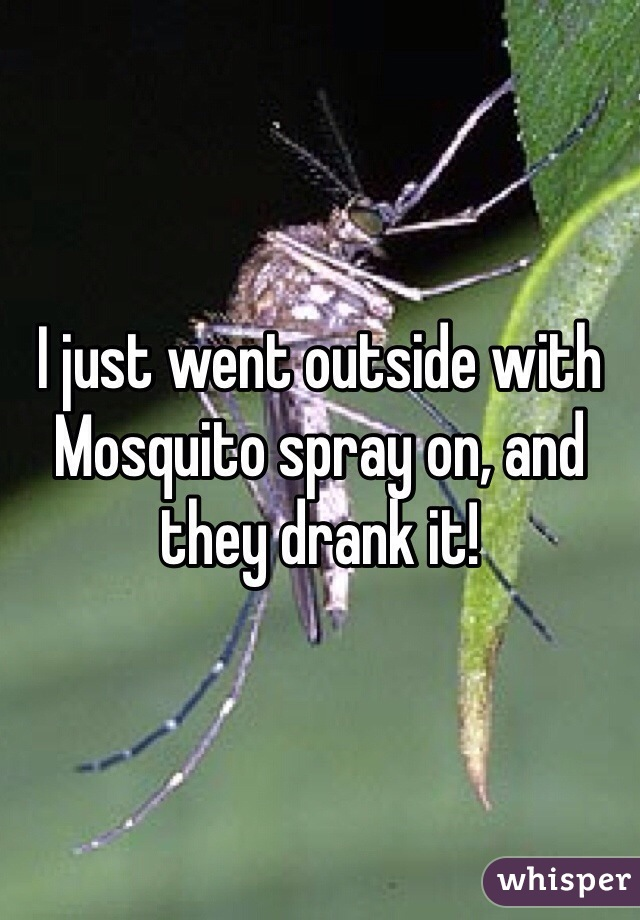 I just went outside with Mosquito spray on, and they drank it!