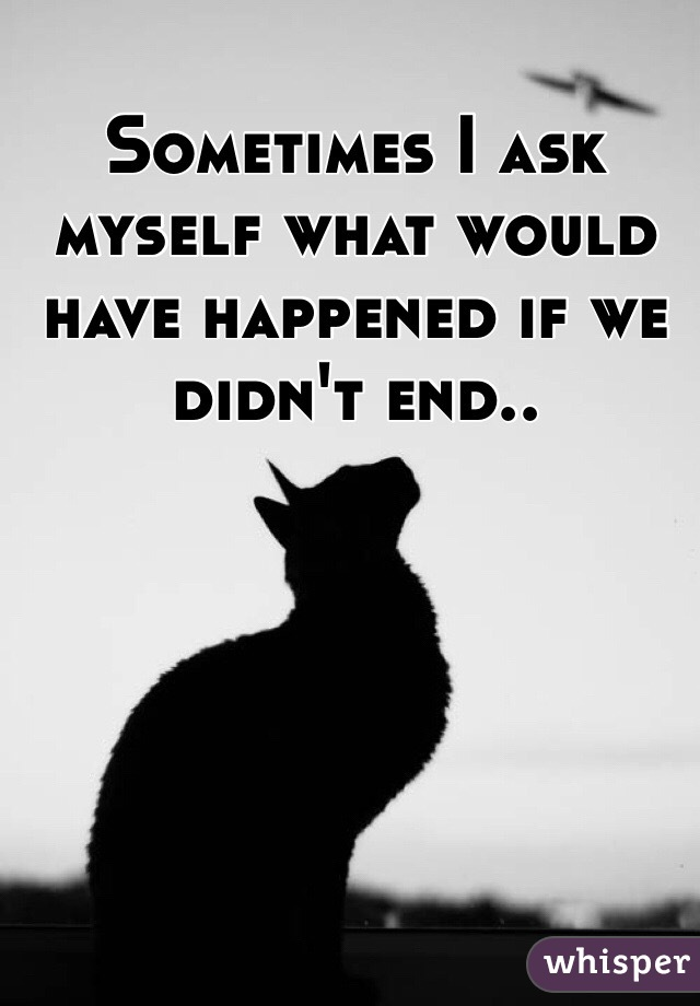 Sometimes I ask myself what would have happened if we didn't end..