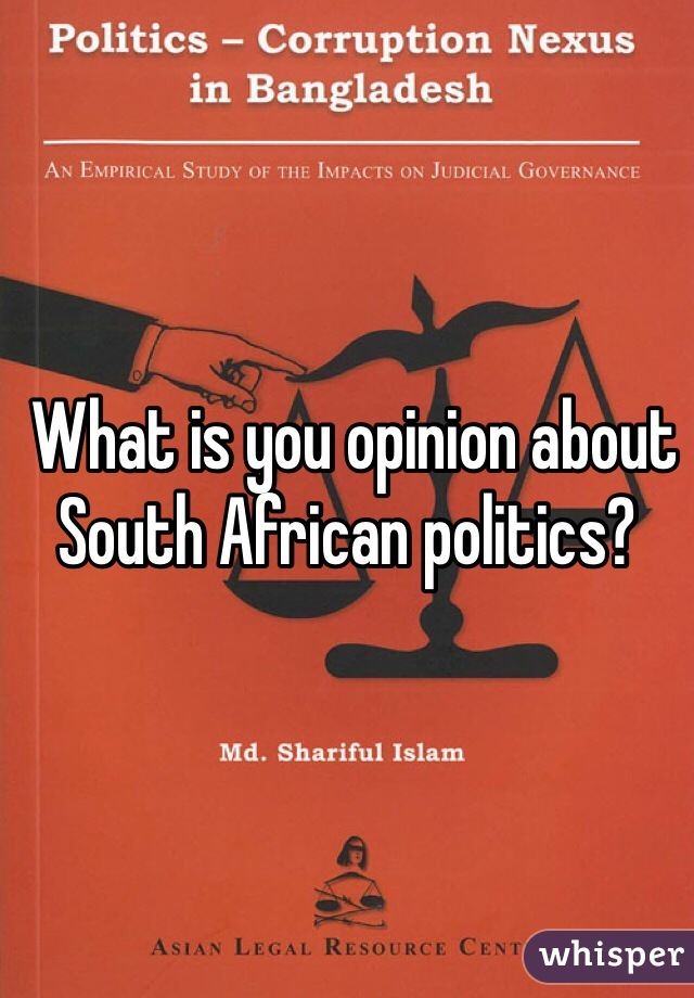 What is you opinion about South African politics?
