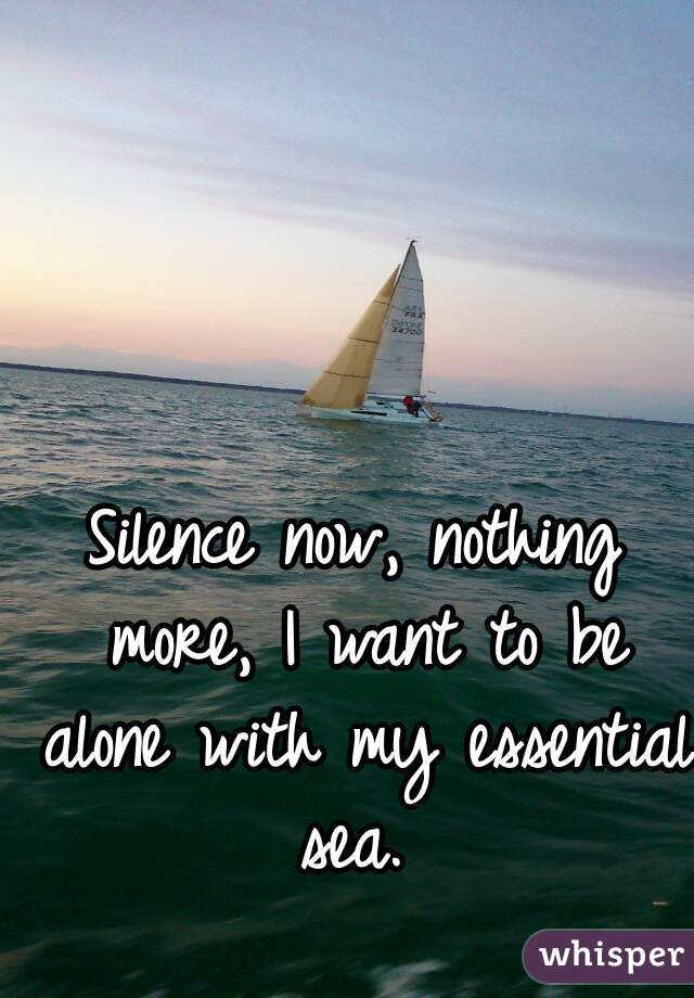 Silence now, nothing more, I want to be alone with my essential sea.