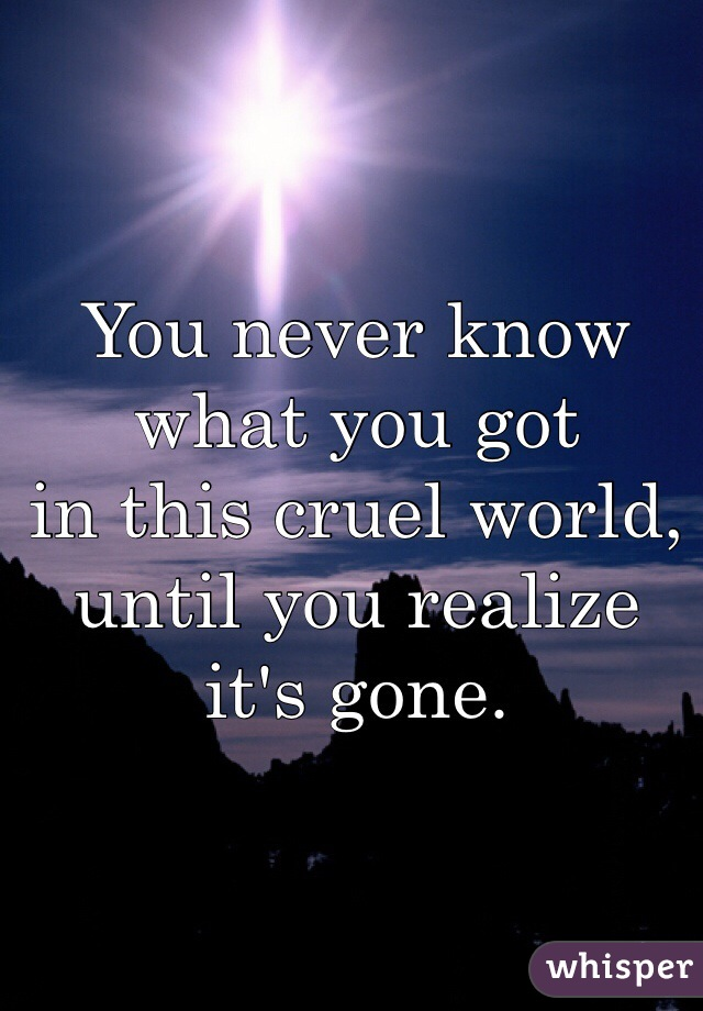 You never know what you got in this cruel world, until you realize it's gone.