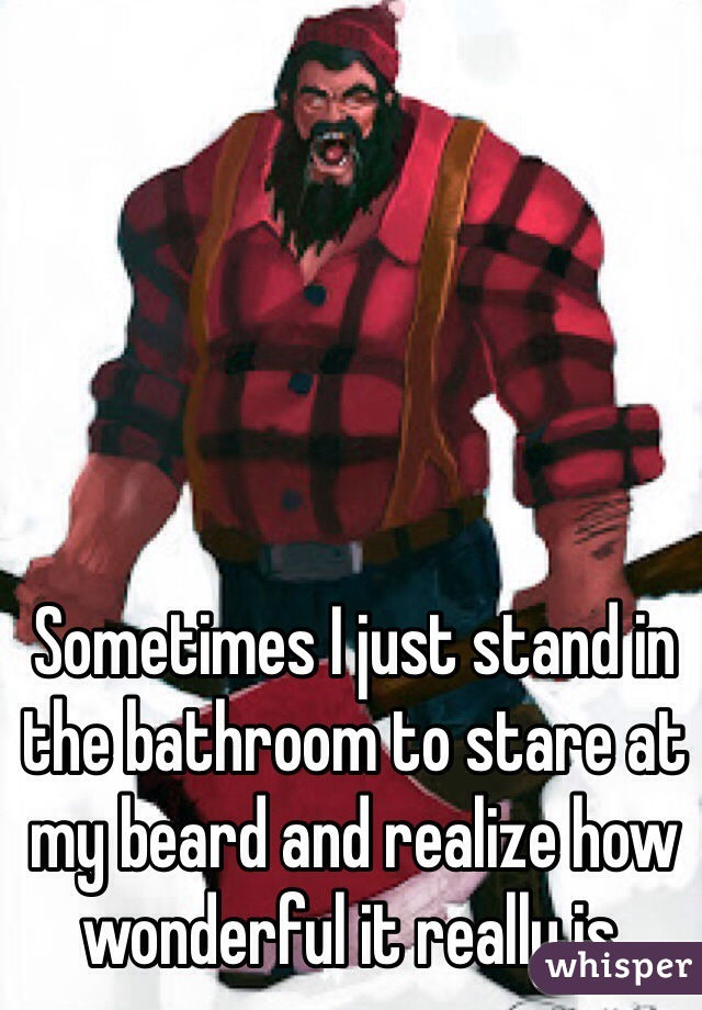 Sometimes I just stand in the bathroom to stare at my beard and realize how wonderful it really is.