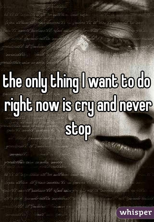 the only thing I want to do right now is cry and never stop