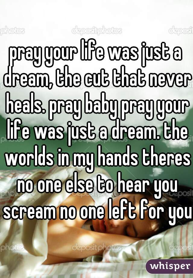 pray your life was just a dream, the cut that never heals. pray baby pray your life was just a dream. the worlds in my hands theres no one else to hear you scream no one left for you