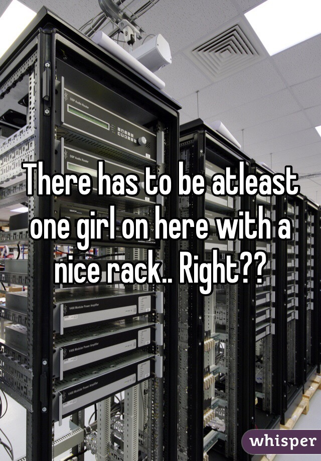 There has to be atleast one girl on here with a nice rack.. Right??