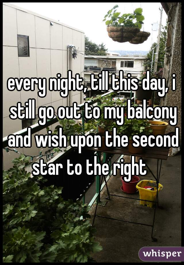 every night, till this day, i still go out to my balcony and wish upon the second star to the right