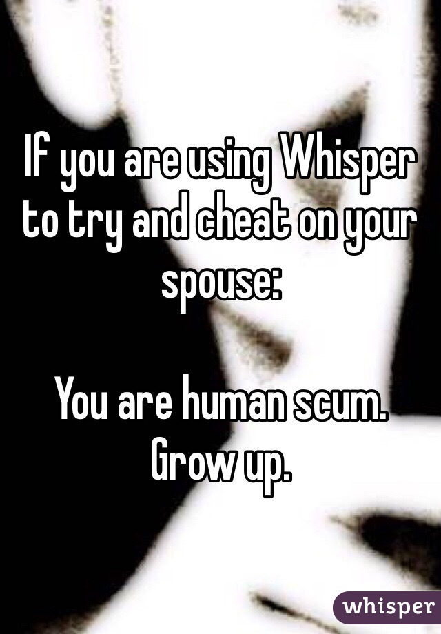 If you are using Whisper to try and cheat on your spouse:  You are human scum. Grow up.