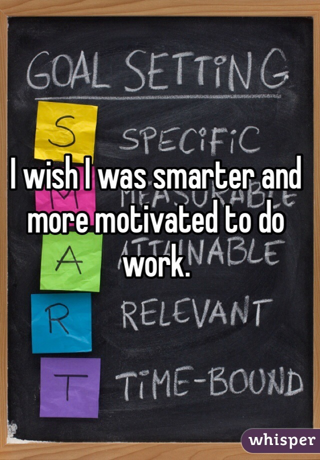 I wish I was smarter and more motivated to do work.