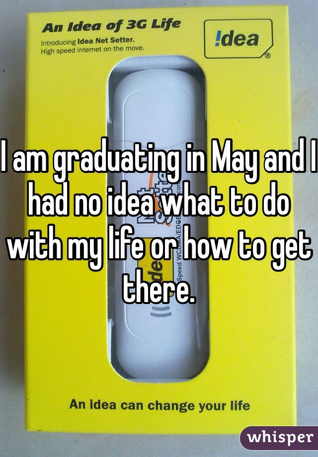 I am graduating in May and I had no idea what to do with my life or how to get there.