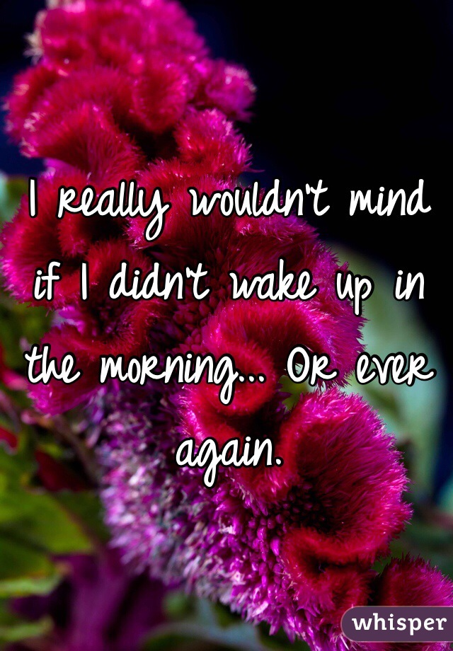 I really wouldn't mind if I didn't wake up in the morning... Or ever again.