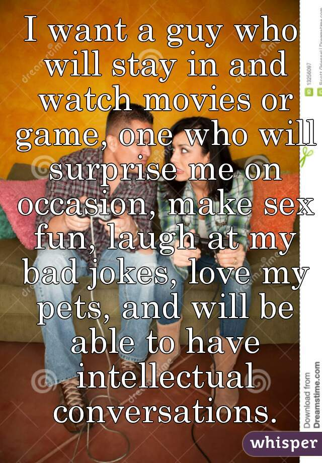 I want a guy who will stay in and watch movies or game, one who will surprise me on occasion, make sex fun, laugh at my bad jokes, love my pets, and will be able to have intellectual conversations.