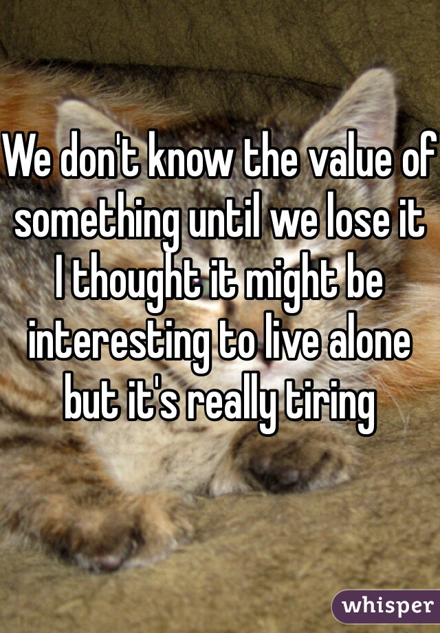 We don't know the value of something until we lose it I thought it might be interesting to live alone but it's really tiring
