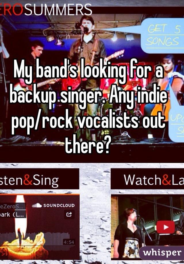 My band's looking for a backup singer. Any indie pop/rock vocalists out there?