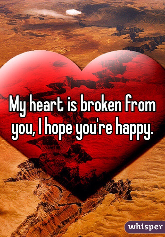My heart is broken from you, I hope you're happy.