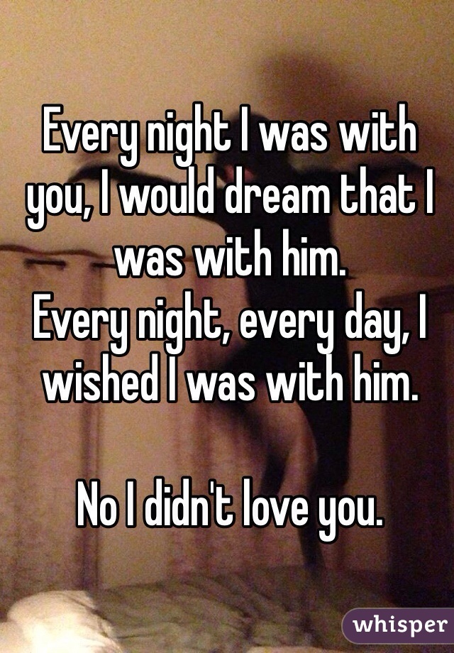Every night I was with you, I would dream that I was with him.  Every night, every day, I wished I was with him.  No I didn't love you.